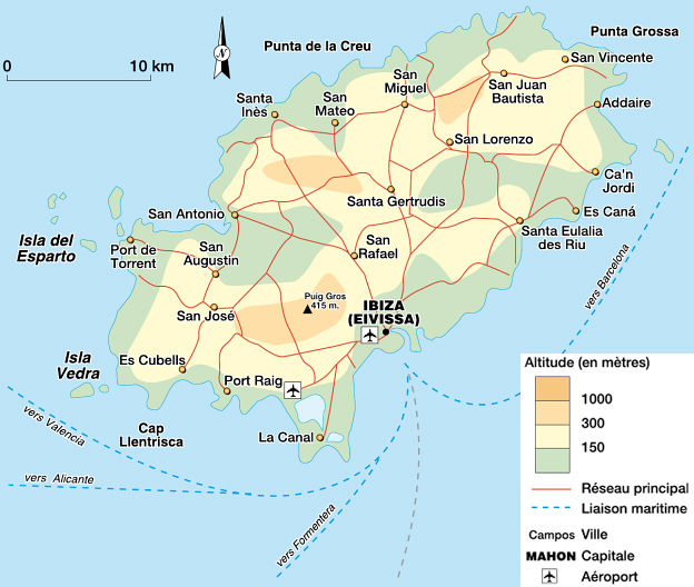 Islas Baleares Mapa Fisico.La Isla De Ibiza