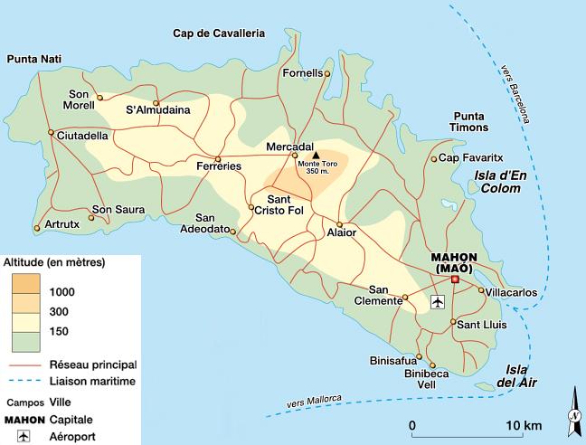 Insel Menorca Karte.Die Insel Menorca