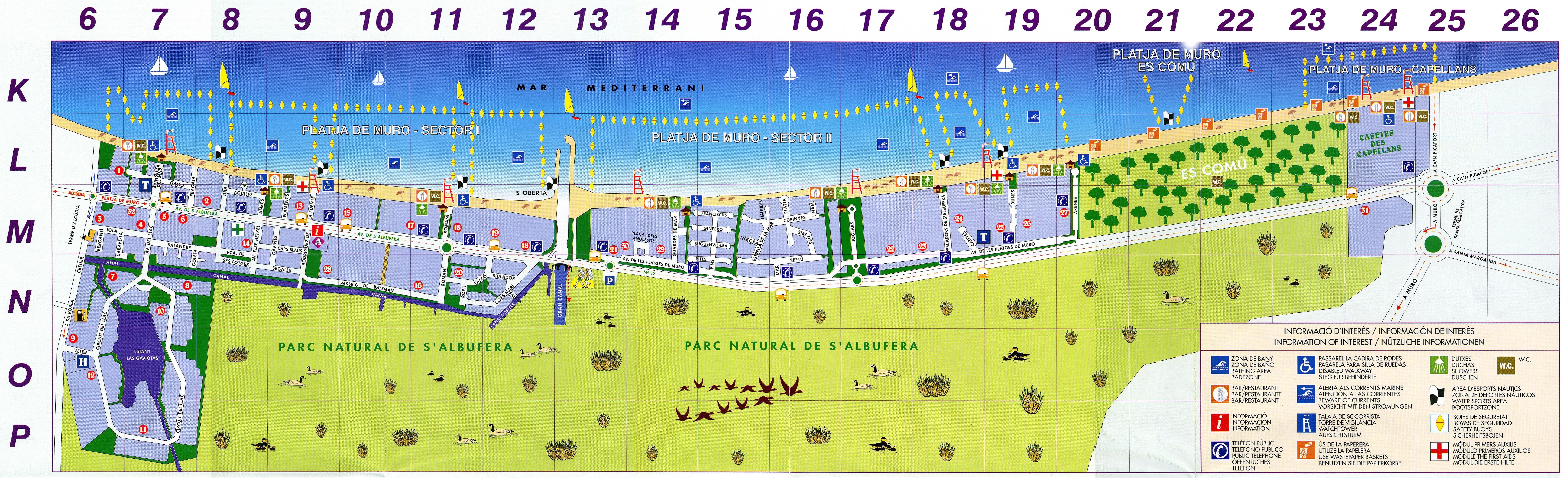 playa de muro karte El pueblo de Platja de Muro en Mallorca playa de muro karte