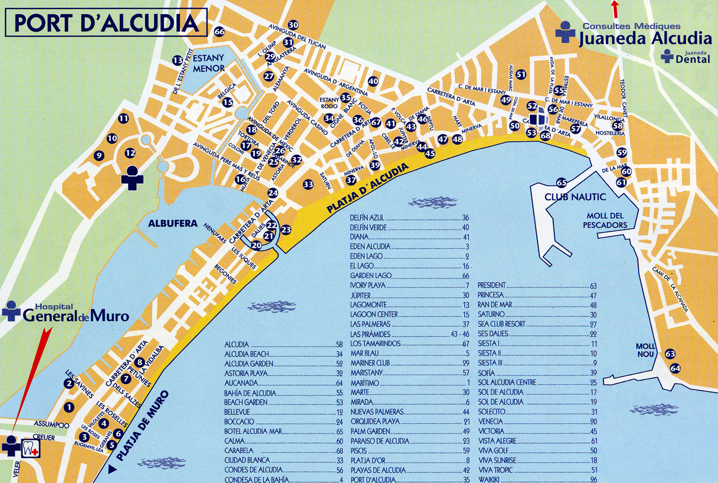 The village of Port dAlcudia in Majorca