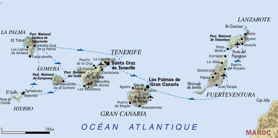 Kanaren Inseln Karte.Touristische Informationen über Die Kanarischen Inseln