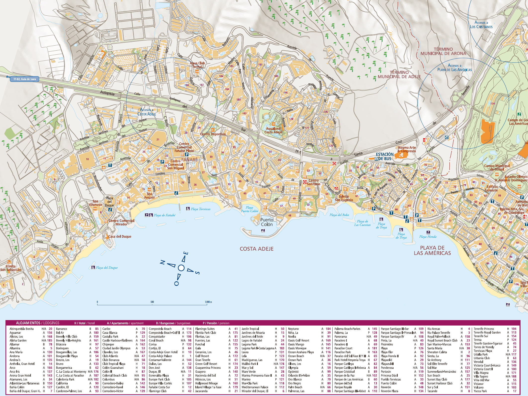 Interactive map of the district of Costa Adeje in Tenerife