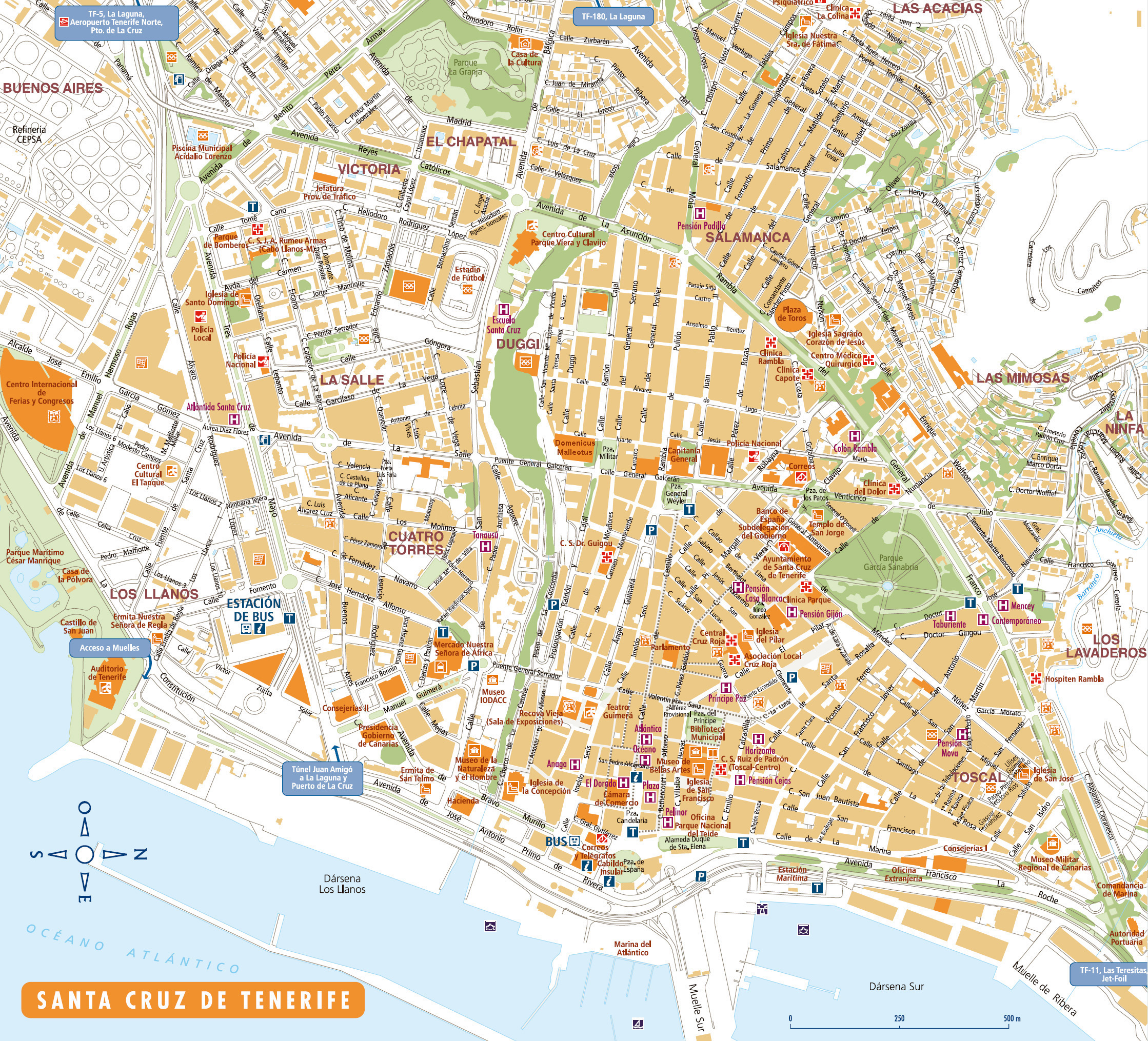 Interactive Map Of The Town Of Santa Cruz De Tenerife