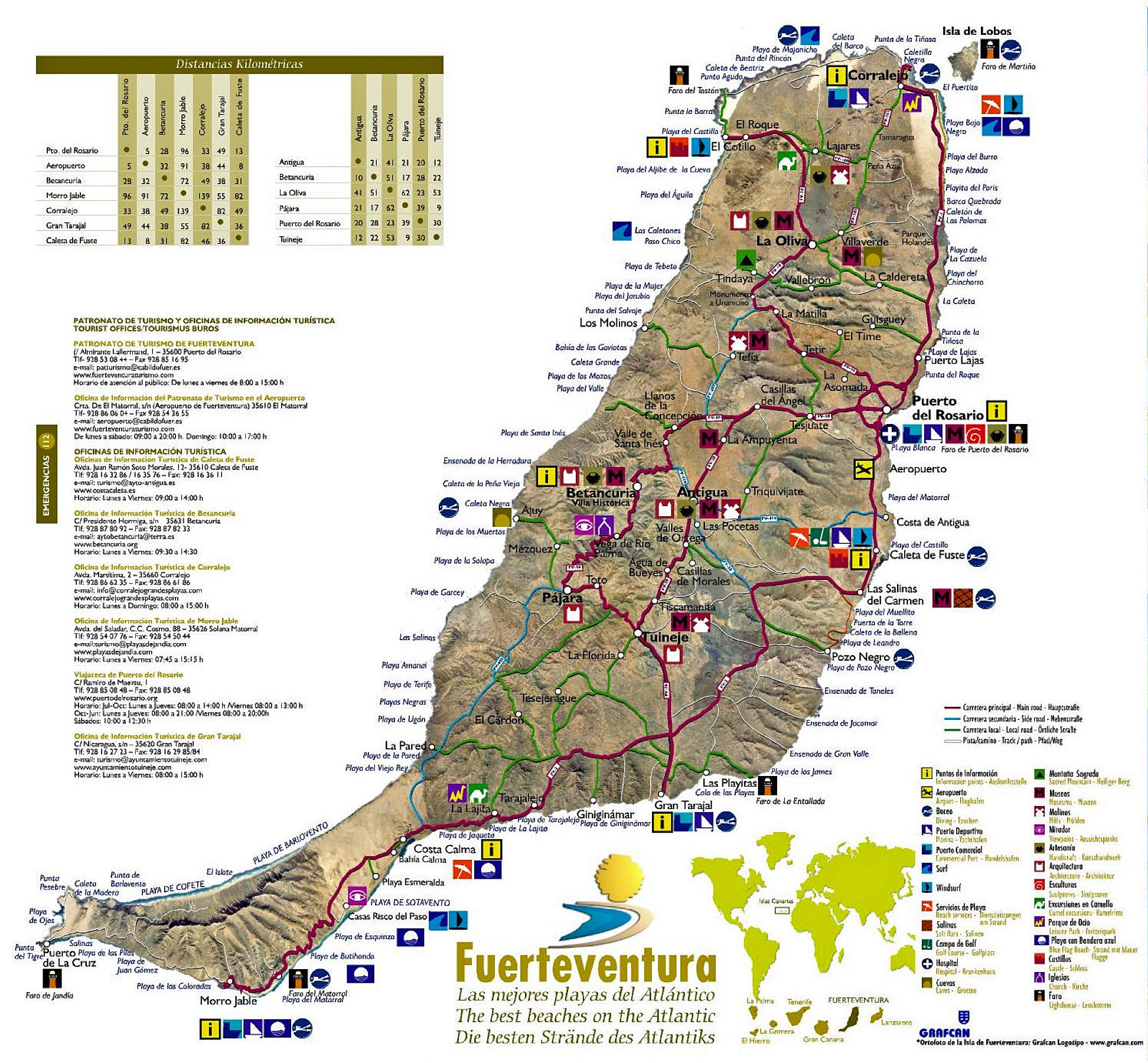Kanaren Inseln Karte.Die Insel Fuerteventura Auf Den Kanarischen Inseln