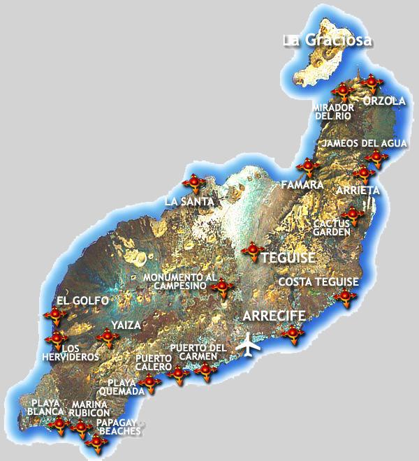 Spagna E Isole Canarie Cartina Geografica.L Isola Di Lanzarote Nelle Isole Canarie