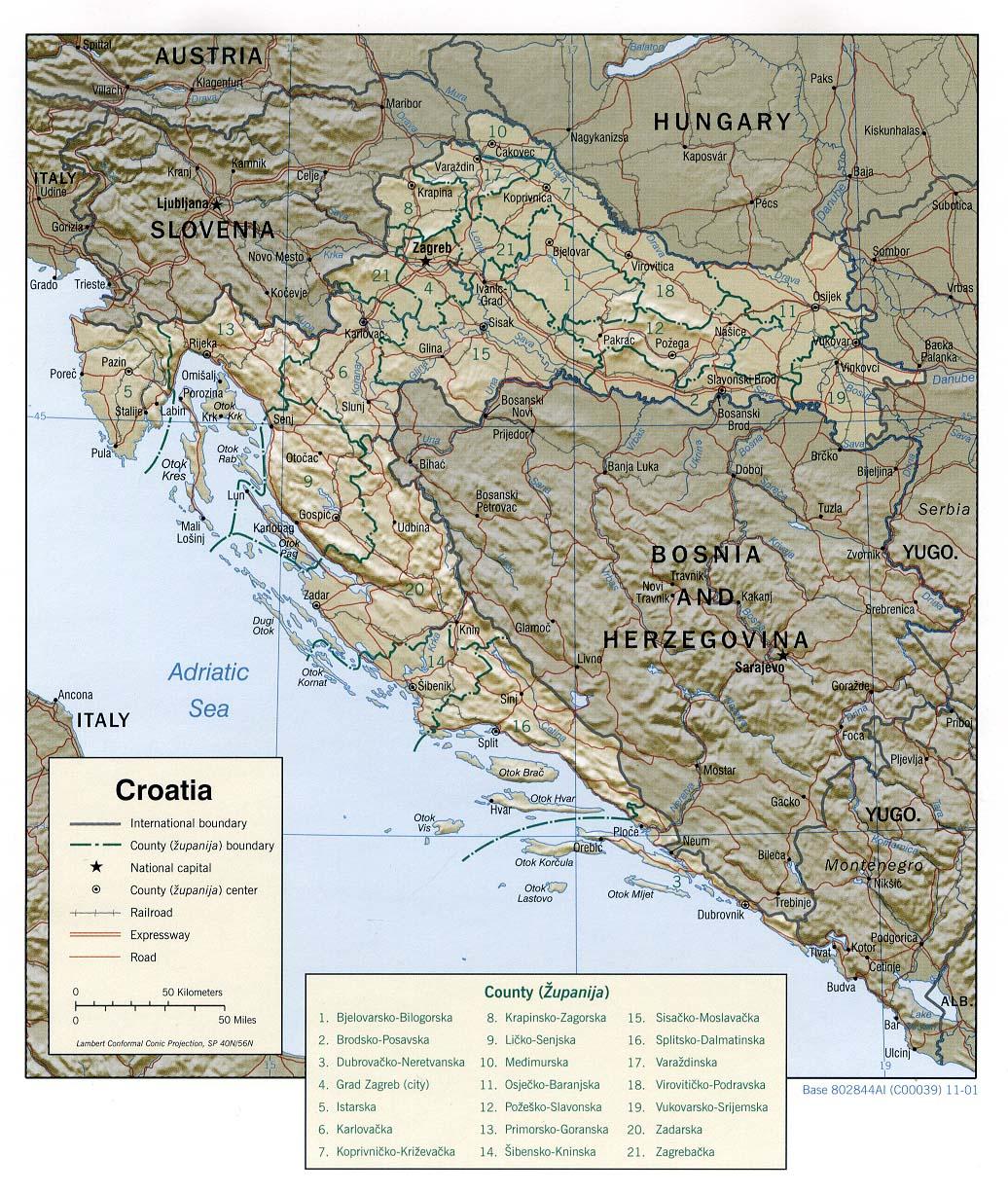 Carte Altitude Croatie.La Geographie De La Croatie