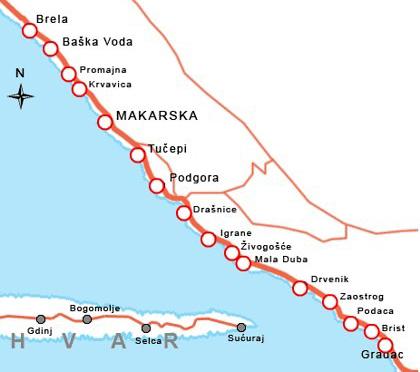 The riviera of Makarska in Croatia