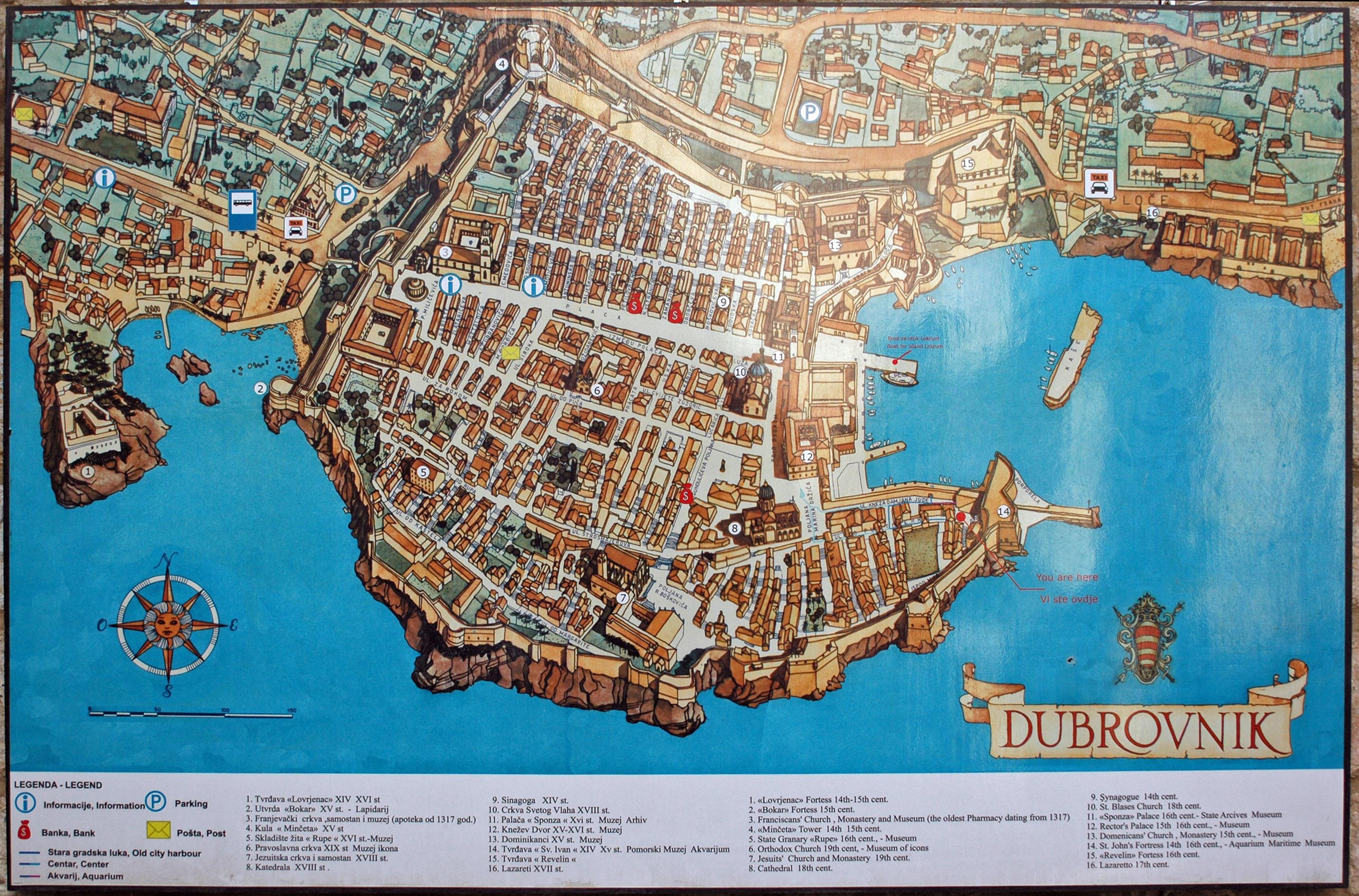 Carte Vieille Ville Dubrovnik