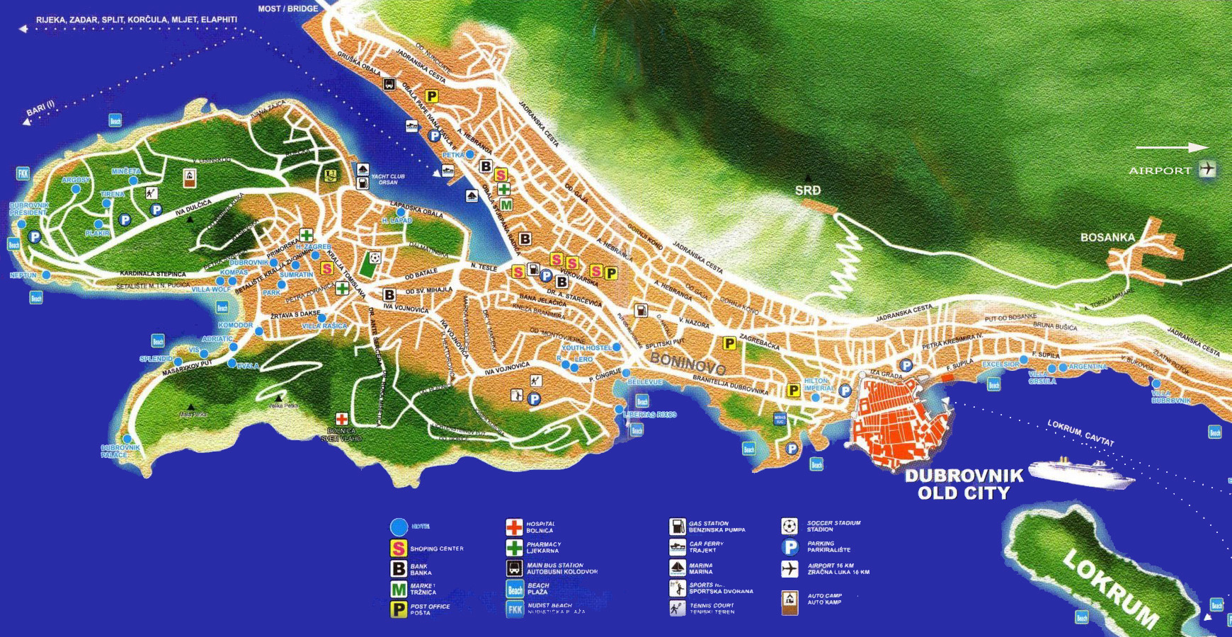 Interactive map of the town of dubrovnik in croatia to click on the active zones to reach the places gumiabroncs Gallery