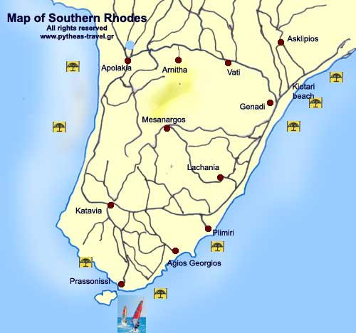 The southern coast of Rhodes