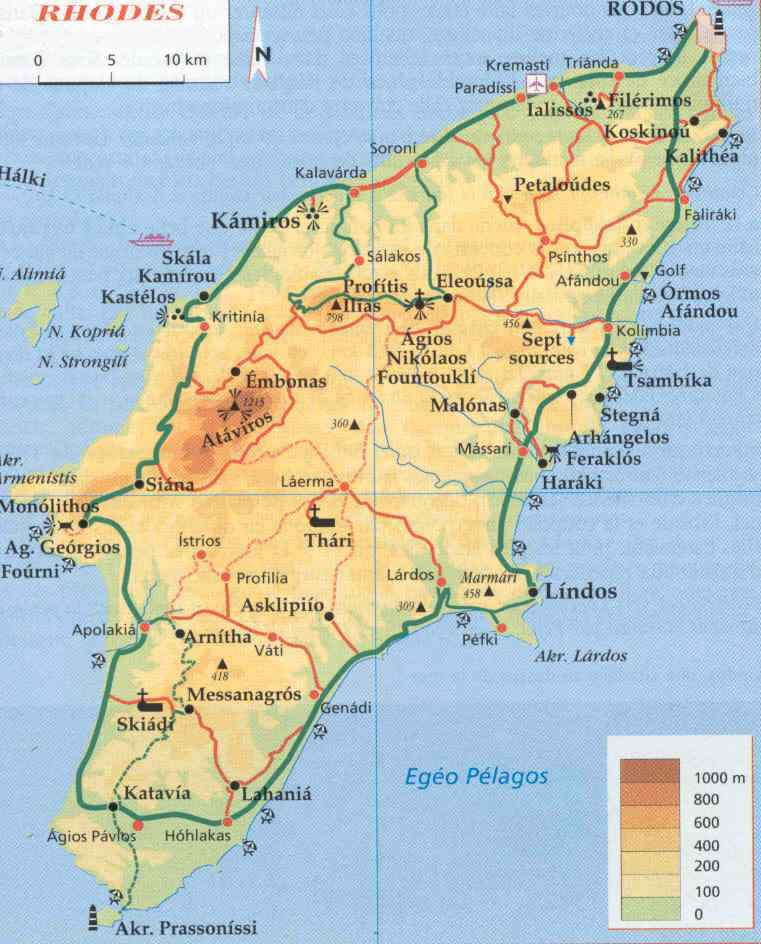 The geography of Rhodes