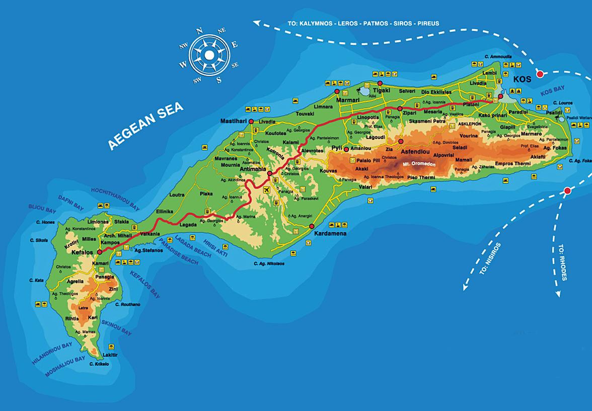ile de kos carte The island of Kos   Interactive Map