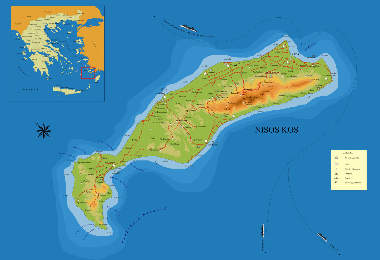 The island of Kos or Cos in the Aegean