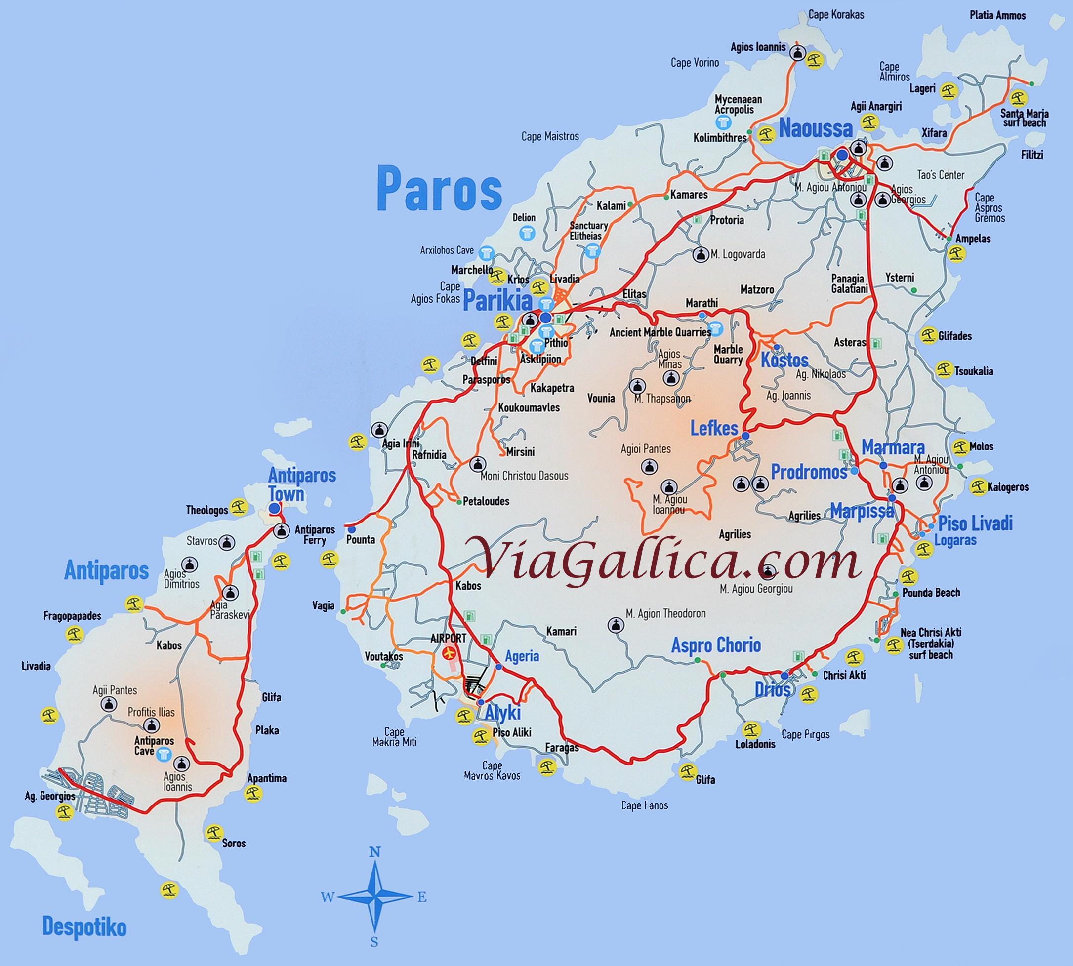 L'île de Paros dans les Cyclades en Grèce