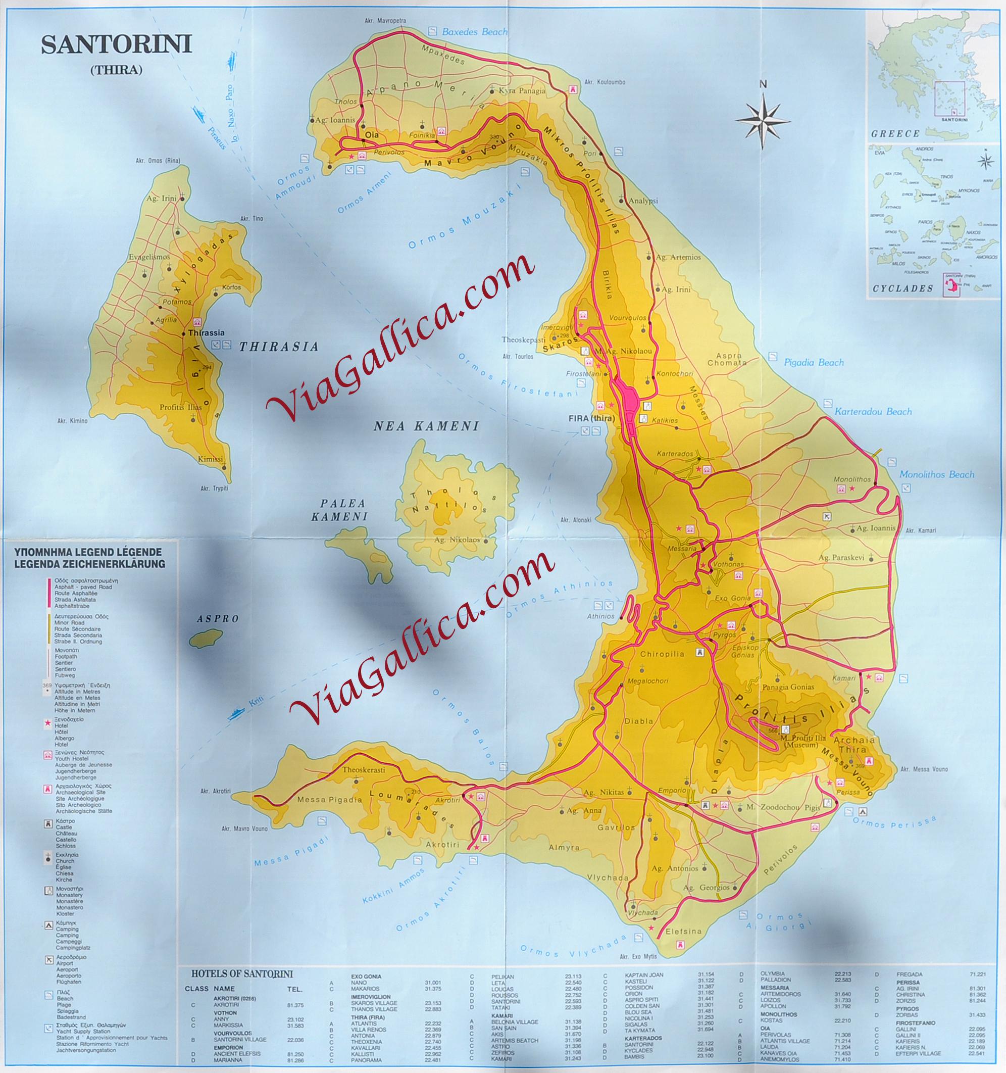 Carte Crete Cyclades.L Ile De Santorin Dans Les Cyclades En Mer Egee