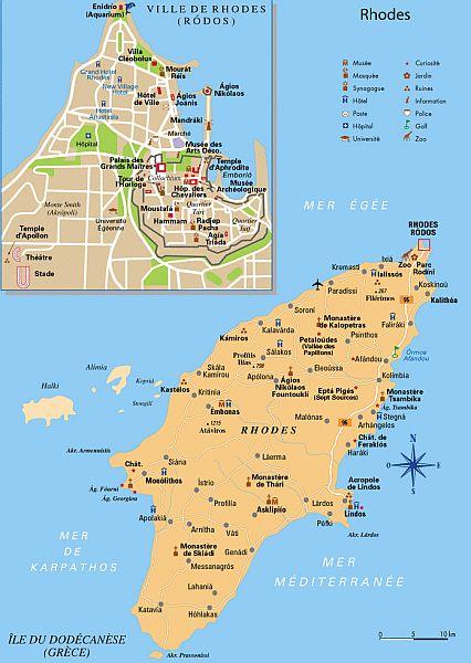 Rhodos Karte.Touristeninformationen über Rhodos