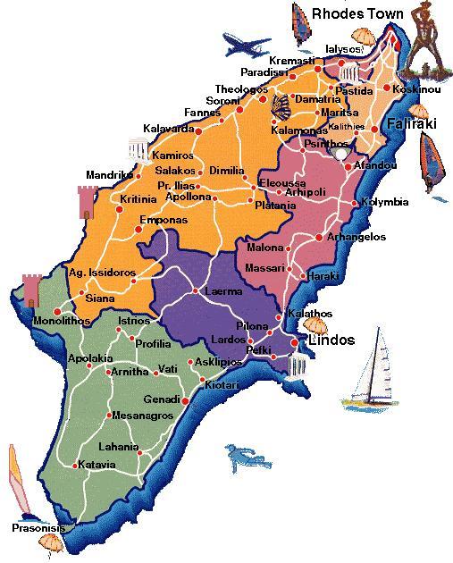 Rhodos Karte Faliraki.Touristeninformationen über Rhodos