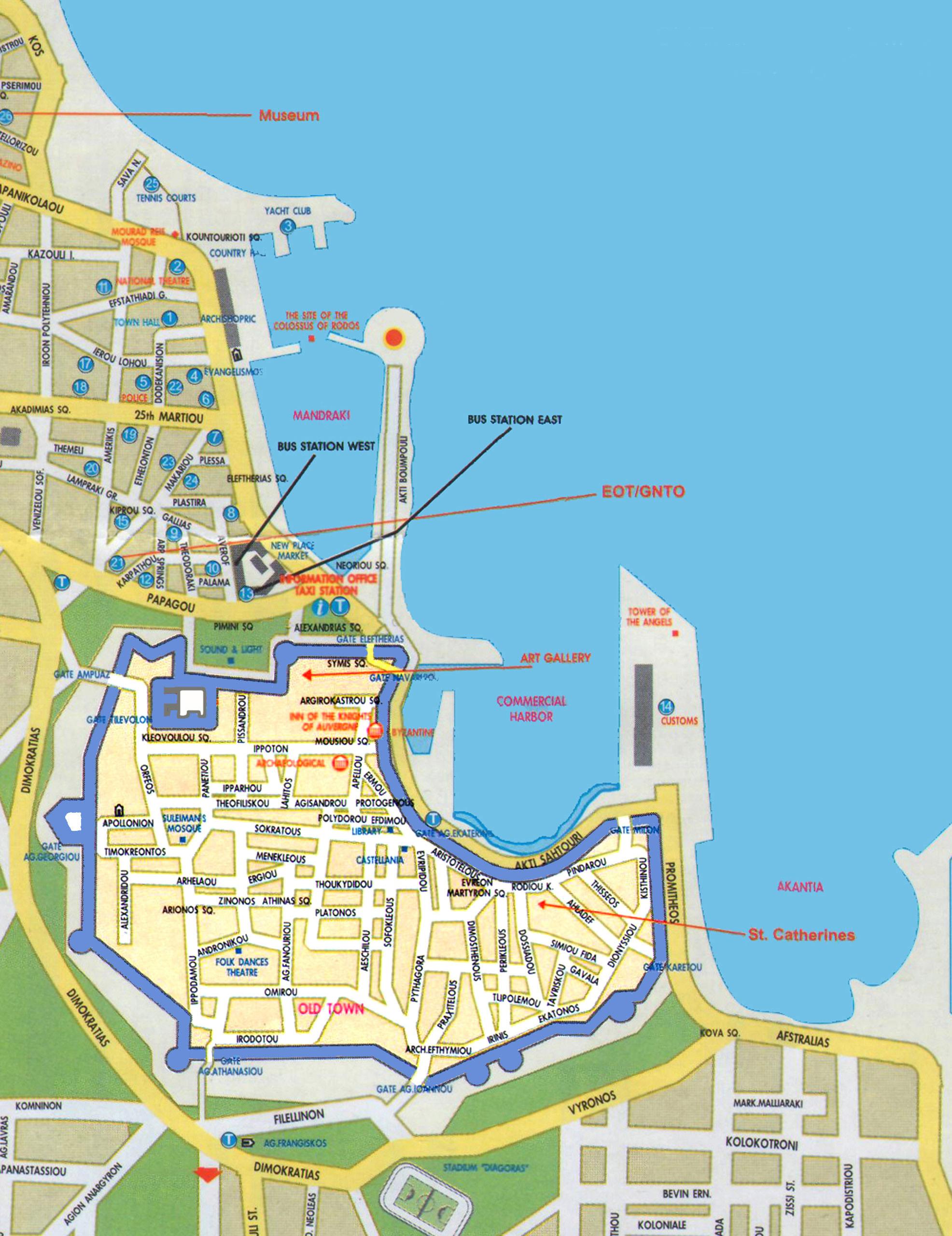 Rhodos Karte Flughafen.Touristeninformationen über Rhodos
