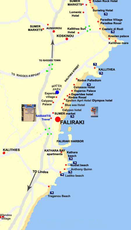 Rhodos Karte Flughafen.Das Dorf Faliraki Rhodos