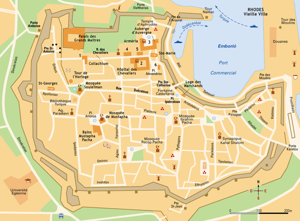 Interactive Map of the medieval city of Rhodes